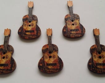 Set of 5 wooden painted OWL pattern guitar buttons