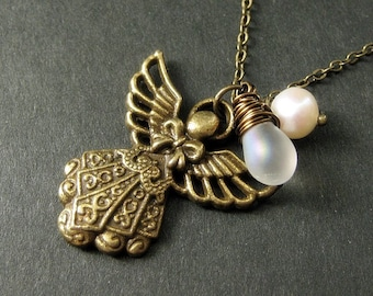 Bronze Angel Necklace with Wire Wrapped Teardrop and Fresh Water Pearl. Handmade Jewelry.