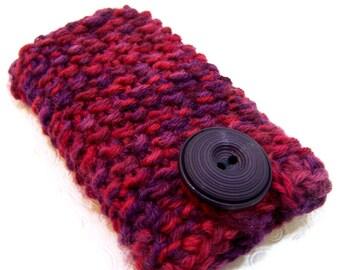 Knit Handytasche, lila, rot Handytasche stricken IPhone Hülle, iPhone Hülle, stricken rot stricken Handytasche, Pflaume lila roten Wolle, stricken Handy Socke