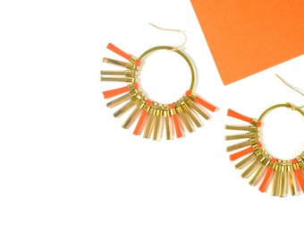 """Half circle earrings, Orange and Golden, Half Moon gold plated 3 µ high quality french hooks """"Soleil"""""""