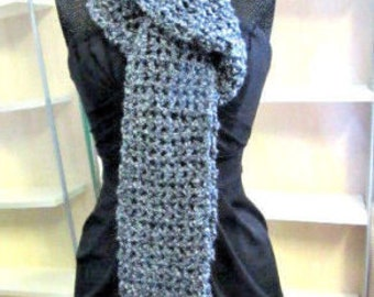 Blue Scarf 100x5.5 Inches Extra Long Oversize Cowl Chunky Goth Boho Handmade Crochet knit Mans Womans Spring Unique Birthday Gift