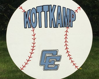 """Baseball personalized sports yard sign.  Personalized with name, number and team logo.  Sign 23""""  is attached to a 42"""" metal t bar stake."""