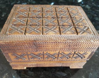 Vintage wooden double deck  card box