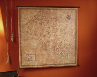 """Pull down canvas map of Belgium, Vintage styled fantasy Belgium map, Vintage canvas map, 96 x 95 cm / 37.8"""" x 37.4"""""""