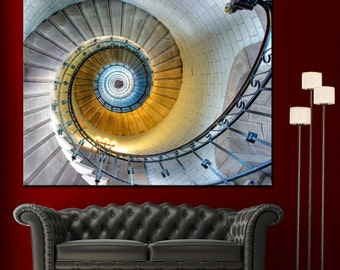 Spiral Staircase Wall Art Canvas Giclee Print - Highest Quality Canvas Den Prints - Not stretched or framed