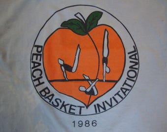 Vintage 80's Peach Basket Invitational 1986 Gymnastics Blue T Shirt Size S