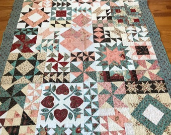 Vintage Quilt Multicolor Patchwork Quilt Blanket Quilt Wall Display Quilt Decor Vintage  1980s
