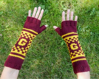 """Harry Potter Gryffindor House Armwarmers - Fingerless Gloves - Wristwarmers - Red & Gold Pattern Hand Knit Fingerless Mittens with """"G"""" Logo"""