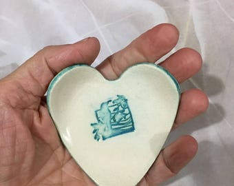 Heart bowl , Ceramic heart bowl, Ring dish, Rings bowl, Spoon rest,Teabag holder, Jewelry dish, Valentine, Candle holder, love birds,  heart