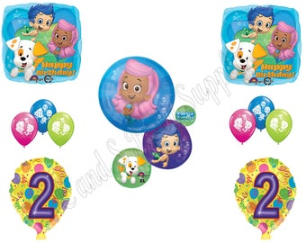 BUBBLE GUPPIES 2nd Second Birthday Party Balloons Decoration Supplies Mr. Grouper