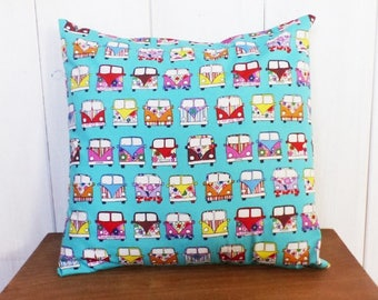 Cushion cover 40 x 40 cm fabric seventies turquoise surf suit patterns