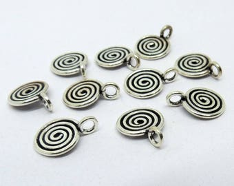 10 Pieces Charms, Tag 925 Sterling Silver Spiral Wire with Ring 9mm Round