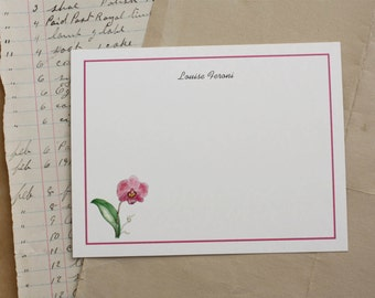 NEW! Pink Orchid, Phalaenopsis Flower Custom Notecard Stationery. Thank You, Any Occasion, Personalize Watercolor Print, Set of 10.
