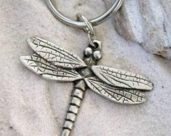 Pewter Dragonfly Fairy Keychain Key Ring (323-KC)