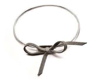 Suede leather cord and 925 sterling silver Bangle Bracelet