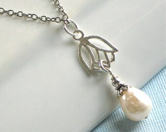 Lotus Necklace -  Sterling Silver, Pearl Necklace, Flower Jewelry, Wedding Jewelry