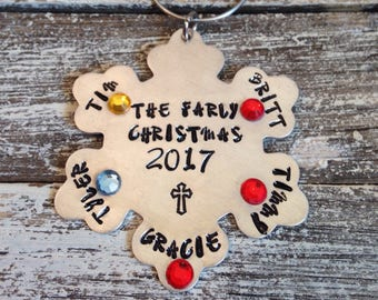 Family Christmas ornaments~ Hand stamped~ personalized~ family members~ birthmonth jewels~ Family ornament