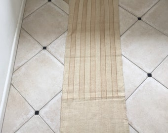NS1814 Caramel Stripe Twill Natural Sandstone Vintage Linen Grainsack Fabric Striped Sewing Projects Upholstery Bath Mat or Laundry Bag