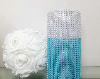 Bling Rhinestone Wedding Centerpiece Dual Color Silver Turquoise Bling Vases-Centerpiece, Floral Vases For All Occasions.