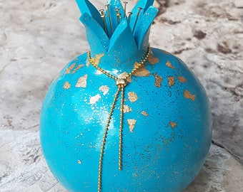 Elegant Blue Pomegranate w necklace and gold touch for prosperity and fertility, Handmade polymer clay for tabletop