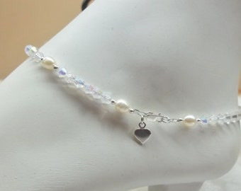 Heart Anklet White Pearl Anklet Pearl Clear AB Crystal Anklet Summer Jewelry Beach Anklet Clear Crystal Anklet Sterling Silver BuyAny3+1Free