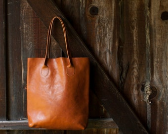 The Essential Tote in Cognac/ Leather Tote Bag / Leather Bag / Brown Tote Bag /Tote Bag / Brown Leather Tote / Cognac Leather Bag
