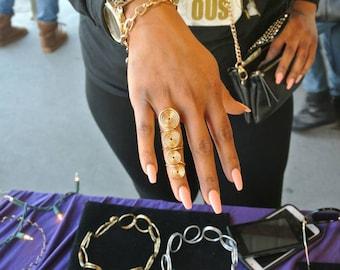 Goddess swirl full finger ring