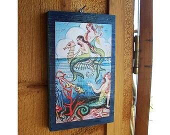 retro mermaid print vintage pin up girl wall hanging rockabilly nautical kitsch