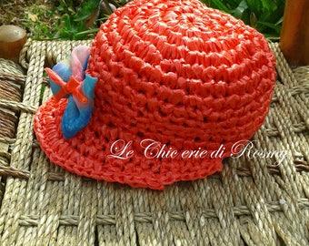 Crocheted Straw cap with visor