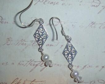 Sterling Silver filigree & pearl and crystal earrings