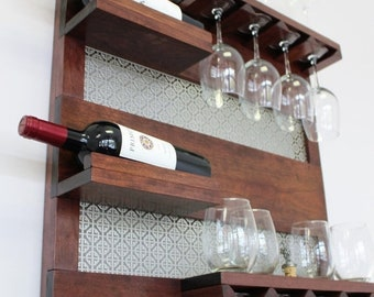 ON SALE Real Cherry Wood, Dark Cherry Stained Wall Mounted Wine Rack with Shelves and Decorative Mesh, Wine and Liquor Shelf and Cabinet