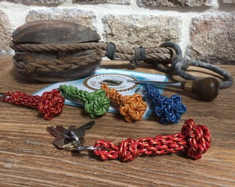 Key chain rope - knots - stainless steel ring - nautical gift - House - car - star rope - Macrame - adventure