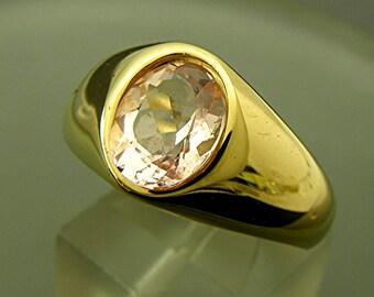 AAAA Natural Pink Morganite   10x8mm  2.67 Carats   14K yellow gold ring 19 grams 0207