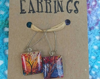 Scrabble earrings, Recycled jewelry, Vintage game pieces, Hippie jewelry
