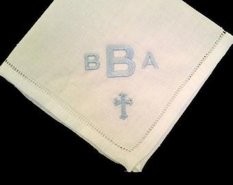 Monogram handkerchief, boy baptism memento embroidered handkerchief, baptism memento,personalized baptism gift, personalized baptism memento