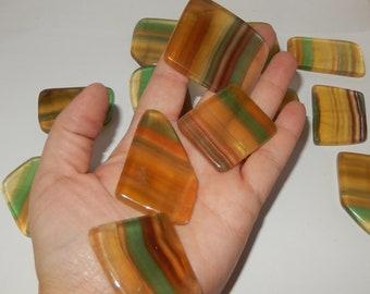 Yellow Rainbow Fluorite - flat polished