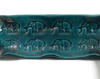 Elephant Pottery Tray Raku Teal