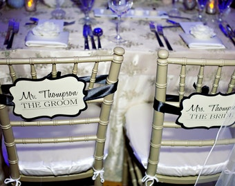 Personalized Newlywed Chair Signs for the Bride & Groom - Available in Custom Wedding Colors