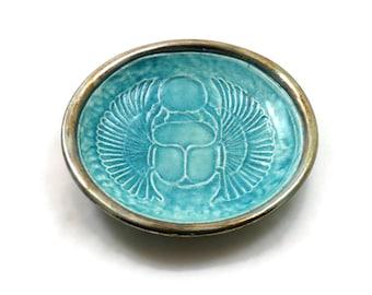 EGYPTIAN Scarab  Handmade Raku Pottery OFFERING BOWL