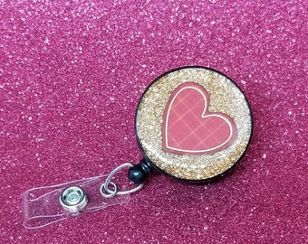 Valentine's day red plaid heart badge reel