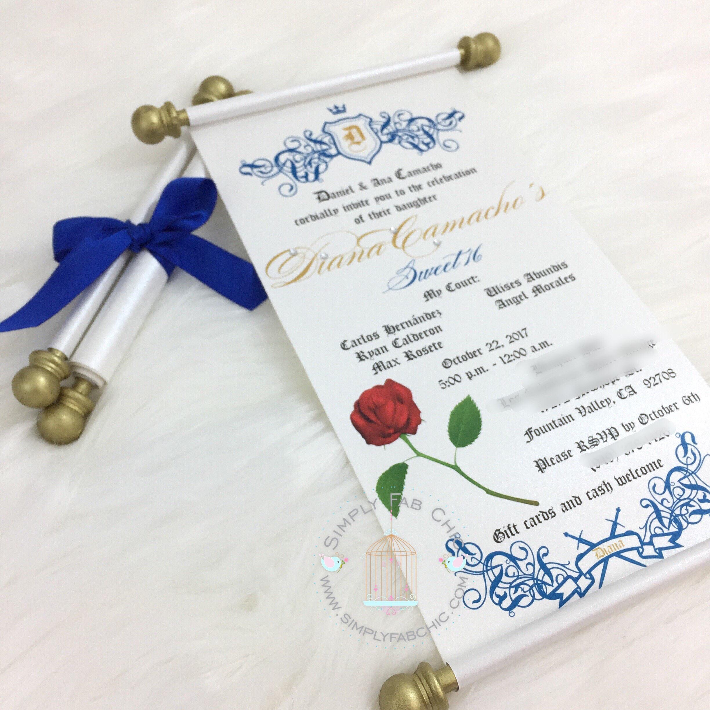 Beauty and the Beast Scroll Invitation Birthday Wedding