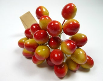 Vintage Cherries 24 Millinery Fruit Decoration Bunch of NOS Germany Red Yellow Ripening Berries Spun Cotton for Hats Crafts Corsage Garnish