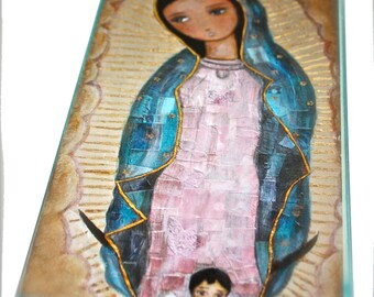 Our Lady of Guadalupe with Child -  Giclee print mounted on Wood (3 x 6inches) Folk Art  by FLOR LARIOS