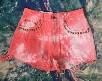 Vintage Eddie Bauer High Waist Orange Dyed Distressed Studded Denim Cut Off Shorts