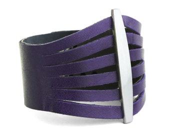 Purple Leather Bracelet, Violet Leather Cuff Bracelet - the Flare cuff