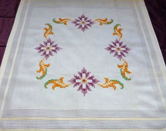 Vintage square tablecloth with floral  embroidery hand embroidered table cloth handmade cross stitch