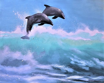 Dolphins marine seascape 24x30 (61 x 76 cm) oils on canvas by RUSTY RUST / D-191