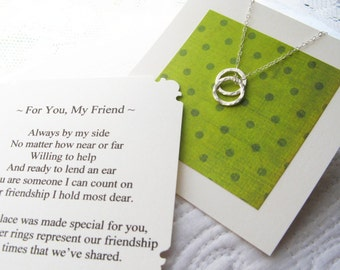 Reserved  - Best Friends Necklace - Poem Note Card Included - Sterling Silver - Friendship Jewelry - Friend - Wear Everyday - Simple - Gift