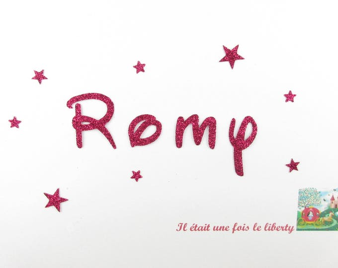 Applied fusible customizable glitter name of 4 letters (example Romy) glitter fabric (colors)