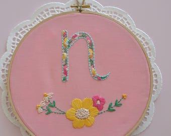 Hand Embroidery Nursery Art  Hand Embroidery Hoop Art - Nursery - Girls Room -Floral Decor - Baby Shower - Embroidery Artwork